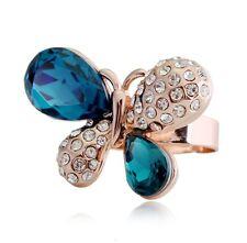 BELLISSIMO Tono Oro & Blu Inchiostro Grande Farfalla RE considerevole regolabile ring fr64