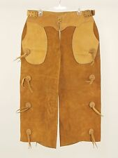 1960s Vintage Leather Western Toggle Shotgun Chaps Small - Medium