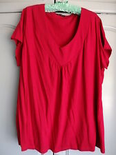 MODA SIZE 24 DARK PINK STRETCHY TUNIC TOP, V NECKLINE, GATHERED FRONT, SH/SLEEVE