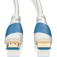 2m HDMI Kabel 2.0 Weiß | 4K U-HD High Speed 3D Ethernet | Für TV PS4 Xbox Beamer