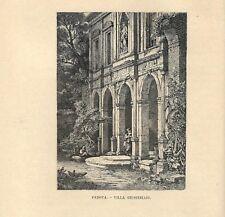 Stampa antica PADOVA Villa Giustiniani 1885 Antique print