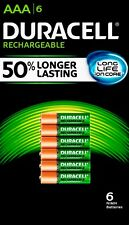 DURACELL Rechargeable AAA Batteries, Pre-charged, 850 mAh, 6 ct.