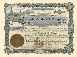 Arcola Crude Oil > 1905 Arizona old stock certificate share