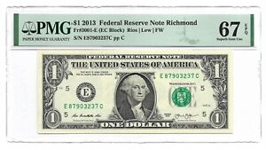 2013 $1 RICHMOND FRN, PMG SUPERB GEM UNCIRCULATED 67 EPQ BANKNOTE, 1st of 2