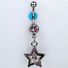 Star Dangle Belly Button Navel Ring Bar PURPLE and Black Piercing Jewelry (C21)