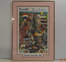 FOLK ART Downtown Hendersonville, NC 1980's Framed Print Rare J. CHENEY 1986