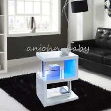 Alaska Modern White High Gloss Coffee/Side Table With Blue LED Light Living Room