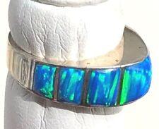 Ladies Temple Menorah Blue Opal Firey Sterling Solid Pyramid Ring Sz 10 Kingsman