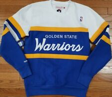 Golden State Warriors Mitchell Ness NBA Men's Head Coach Crew Sweatshirt Blue