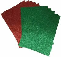 20 x A4 Glitter Card GREEN and RED Sparkly Non Shed 250gsm Christmas 10 of Each