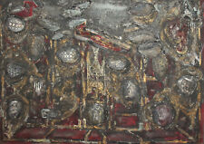 Vintage oil collage painting abstract expressionism