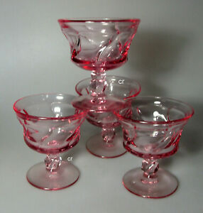 FOSTORIA JAMESTOWN PINK (SET OF 4) CHAMPAGNE/SHERBET GLASSES - PERFECT