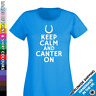 Keep Calm Ladies Horse T Shirt - Canter On - Equestrian Gift - New Top Tshirt