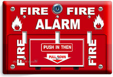 FIRE ALARM PULL DOWN AND PUSH LIGHT TRIPLE SWITCH WALL PLATE COVER ROOM HD DECOR