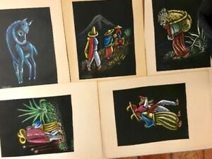 Lot of 5 Vintage Pastel on Paper Hand Drawn and Signed CL Palestino