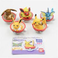 5pcs/set Pokemon Pikachu Eevee & Friends Teacup Figures Cute Anime PVC Toy Gift