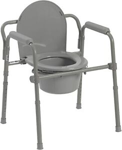 Drive Medical Folding Steel Bedside Commode, Grey 11148-1 NEW
