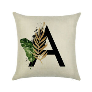 Single 26 Letter Printed Floral Cushion Cover Pillow Case Alphabet A-Z Initials
