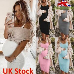 Women Summer Pregnant Maternity Sleeveless Bodycon Casual Vest Mid Tank Dress UK