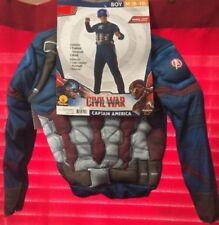 Captain America Marvel Civil War Costume Muscle Chest Boy Kids Size M 8-10 NEW