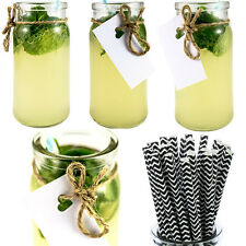 Drinking Jar x12 + Straws x25 Cocktail Glass Wedding Party Vintage Barbecue BBQ