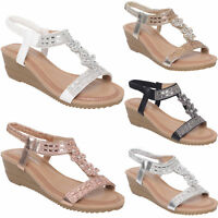 WOMENS LADIES SUMMER SANDALS GIRLS LOW HEEL WEDGE SLING BACK BEACH SHOES NEW 3-8