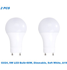2 Bulbs,9W (60W Equivalent),Dimmable,A19 LED,Soft White 3000K,GU24 Base Bulb