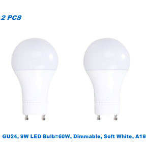 2 Bulbs,9W (60W Equivalent),Dimmable,A19 LED,Soft White 3000K,GU24 Base Bulb