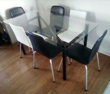Dinning Glass Table and Chairs, Stools