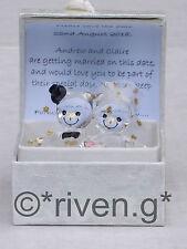 SAVE THE DATE PERSONALISED PREMIUM SWIRLS@Bride and Groom Bears@Glass@INVITATION