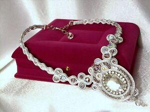 Designer Handmade Exclusive Vintage Style Bridal Gift Soutache  Necklace,