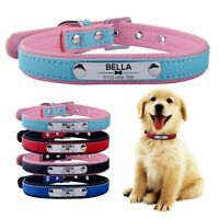 Leather Personalized Dog Collar Pet Cat Custom Name ID Tag Kitten Puppy XS S M L