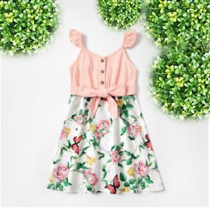 size 3/4/6/8 years new girls dress pink floral butterfly flutter sleeve dress