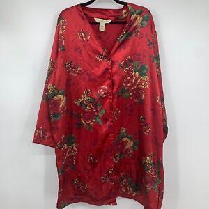 Intimates Lane Bryant 18 20 lingerie nightie robe kimono red floral sexy READ