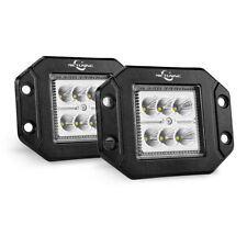 Pair 18W Flood LED Work Lamp 1500LM Flush Mount Driving Light Bar Offroad Fog JK