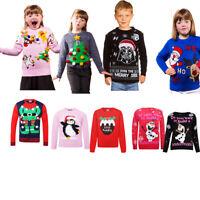 New Childrens Boys Girls Xmas Christmas Kids Winter Jumper Sweater Knitted Retro