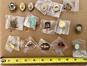 Lot of 21 Law Enforcement Lapel Pins & 1 NYPD Detective Shield Money Clip -NICE!