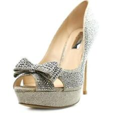 Zapatos de tacón de mujer de color principal plata de lona Talla 38.5