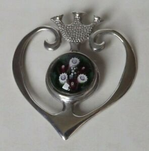 Vintage Silver Hallmarked Millefiori Heart Pendant by Caithness Glass