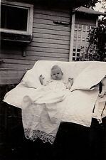 Vintage Antique Photograph Adorable Little Baby Sitting in Glider Swing in Yard