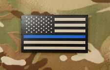 Infrared Thin Blue Line US Flag Patch Tan & Black Police SWAT IR TBL Gang Team