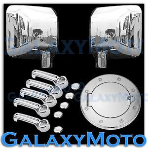Chrome Mirror+4 Door Handle+Tailgate+Gas Door Cover for 07-18 Jeep Wrangler JK