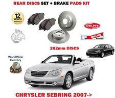 FOR CHRYSLER SEBRING 2.0 2.4 2.7 2007--> REAR BRAKE DISCS 262mm SET +  PADS KIT