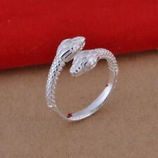 925 Sterling Silver Plated TWIN SNAKE RING Thumb/ Wrap Ring ADJUSTABLE Serpent