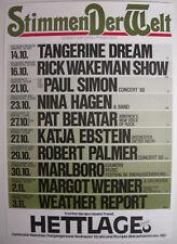 TANGERINE DREAM NINA HAGEN PAT BENATAR WEATHER REPORT CONCERT TOUR POSTER 1980