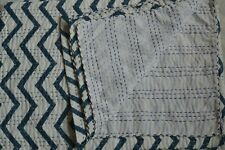 Twin Size Hand Block Indian Hand Block Striped Kantha Quilt Cotton Bedspread**