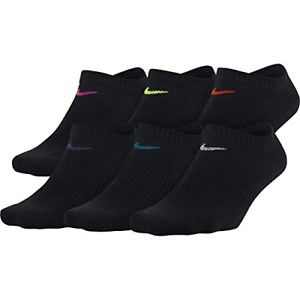 Nike Everyday Women's No Show Socks 6 pairs pack Black Dri Fit Lightweight nwt