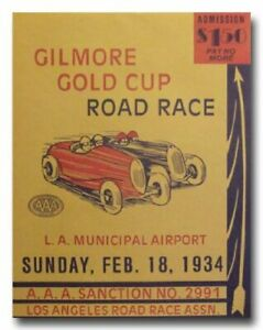Gilmore Gold Cup Road Race 1934 racing classic vintage reproduction poster 30's