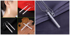 New Women Fashion 925 Sterling Silver Plated Bar Pendant Necklace Earrings Set