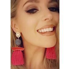 Rose Red Women Bohemian Long Tassel Earrings Fringe Boho Dangle Hook Earrings